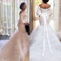 motifs de robe de mariage achat en gros de-Robe de mariée en mousseline de soie à manches longues et à manches longues