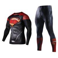 conjuntos de corrida completos venda por atacado-Conjuntos de homens de fitness em execução clothing superman conjunto de treino superman capitão américa sportswear conjuntos de impressão 3d de compressão completa # 303912