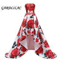túnica larga y colorida al por mayor-Colorido vestido de noche floral rojo 2019 Patrón Long Hi Lo Vestido de fiesta formal Vestido de fiesta Abendkleider 2019 Vestido robe de soiree