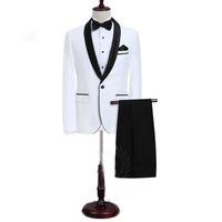 ingrosso gli uomini vestono vestiti indietro-Personalizzato bianco slim fit smoking smoking scialle bavero posteriore ventilati uomini abiti da sposa uomo abiti eccellenti (giacca + pantaloni + gilet)