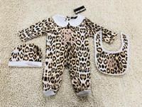 Wholesale baby clothing leopard print suit resale online - Leopard print GIRLS Newborn jumpsuit Baby Girls Clothes cap Romper Bib suit Cotton Baby Clothes layette Set NEW