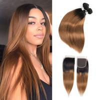 koyu sarışın brazilian saç toptan satış-1B 30 ombre İnsan Saç Paketler Kapatma Koyu Sarışın Ile Brezilyalı Düz Saç 3 Demetleri Ile 4x4 Dantel Kapatma Remy İnsan Saç uzantıları