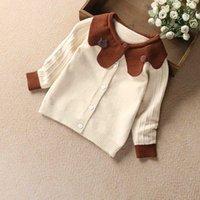 chaquetas infantiles de punto al por mayor-Niños dulces niñas punto chaqueta suéter Cardigans color del caramelo flor escote primavera otoño Outwears