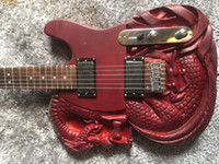 Wholesale hand carving guitar bodies resale online - Electric guitar matte red dragon carving high quality guitar personalized service