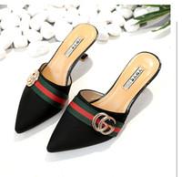 ingrosso le coperture del piede-Nuovo trasporto libero estate pantofola pantofola scarpa da donna punta a punta tacco fine copre scarpe col tacco alto colore incantesimo donne sexy '