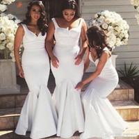 zarif gelin hizmetçi elbiseleri toptan satış-Basit Saf Beyaz Afrika Mermaid Gelinlik Modelleri 2019 Kapalı Omuz Düğün Konuk Elbiseleri Uzun zarif Gelinler Hizmetçi törenlerinde Custom Made