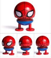 blaue spiderman spielzeug großhandel-Auto-Dekoration Cartoon Frühling schütteln den Kopf für die Avengers Spiderman Spielzeug Verzierungs Puppe Auto-Armaturenbrett Ornament Zubehör Geschenke