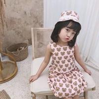 gelb fallen kleid mädchen großhandel-Mädchen Kleider 2019 Sommer Fliegen Ärmel Baby Kleidung 100% Baumwolle Prinzessin Kind Kinder Bär Kleid
