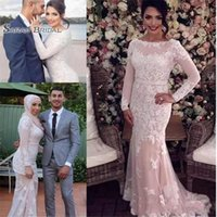 Wholesale fashion dresses for special occasions resale online - 2019 Lace Mermaid Prom Dresses Long Sleeve With Appliques Special Occasion Dresses Evening Gowns For Formal Wear