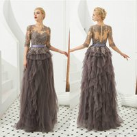 Wholesale long sleevs dress for sale - Group buy 2020 Sexy Long Sleevs Lace Appliqued A line Mother Of The Bride Dress Vinatge Long Party Prom Evening Gown Mother Formal Dresses