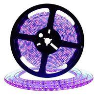 tira flexible de 12 led al por mayor-Tira de luz negra UV LED de 16.4 pies, accesorios de luz negra flexible de 12 V con cuentas de lámpara UV de 300 unidades, luces no impermeables de 24 vatios