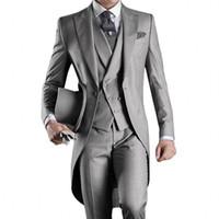 erkekler düğün ustalığı stilleri toptan satış-Bir Düğme Damat smokin Groomsmen tailcoat Sabah Stil Sağdıç Tepe Yaka Sağdıç Erkekler Wedding Orada Suits adet (Ceket + Pantolon + Vest)