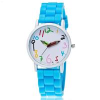 ingrosso orologi freschi-Super Cool Matita Orologio a mano 10 colori Orologio in silicone Set da scuola per bambini Orologi da regalo per bambini