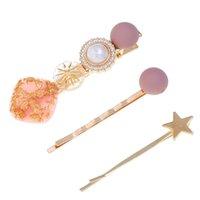 ingrosso stelle dei capelli accessori-3 Pz / set Corea perla resina rettifica clip di capelli stella a cinque punte in metallo tornante copricapo accessori per le donne ragazze regali