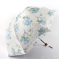 doppelte stoffschirme großhandel-Doppelschicht Anti-UV-Stickerei Spitze Stoff Regenschirm Lady Princess Parasol schwarz Beschichtung innerhalb von zwei Falten Hand offenen Regenschirm Frauen Geschenk