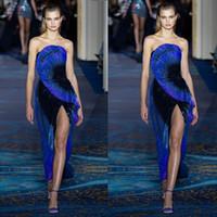 zuhair murad azul marinho venda por atacado-Zuhair Murad Outono Azul Marinho Brilhante 2019 Vestidos de Baile de Lantejoulas Sem Alças Sem Encosto Festa Formal Vestidos de Baile