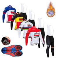 mayo bib lotto toptan satış-Kış Bisiklet Jersey 2019 pro takım LOTTO termal polar bisiklet 9D yastıklı önlük pantolon kiti giysi