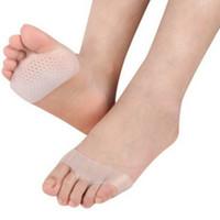silikon kadın ayakları toptan satış-Kadınlar Silikon Jel Tabanlık Ön Ayak Pedi Yüksek Topuk şok Emme Anti Kaygan Ayak Ağrı Sağlık Ayakkabı Astarı RRA1784