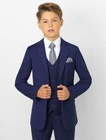 navy tuxedo shirt großhandel-Neue Jungen Smoking Kleinkind Formelle Anzüge Set Kinder Marineblau Slim Fit Boy Anzug für Hochzeiten Party Custom Made (Jacke + Pants + Weste + Shirt)