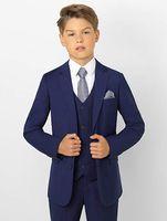camisa de esmoquin azul marino al por mayor-Trajes formales para niños pequeños con esmoquin para niños nuevos Conjunto azul marino Slim Fit Boy Traje formal para bodas por encargo (chaqueta + pantalón + chaleco + camisa)