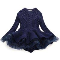 bebek yün kazakları toptan satış-Moda Sonbahar Kış Kız Yün Örme Kazak Bebek Kız Elbise Kız Prenses Organze Yün Elbise Bebek Kız Giysileri