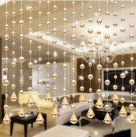 Wholesale Home Decoration Accessories Modern Glass Beads Door String Tassel Curtain Wedding Divider Panel Room Decor W1028
