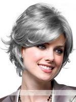 peruca loira escura cosplay venda por atacado-Impressionante senhora curto escuro loiro marrom prata loira reta kanekalon partido cosplay resistente ao calor perucas de cabelo cheio de peruca