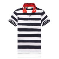 Wholesale pure white t shirt online - 19SS Summer Men s Fashion Designer T shirt Collar Snake and Bee Embroidery Lapel Designer Polo Pure Cotton Stripe Men s T shirt