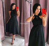 Wholesale tea length vintage style prom dress for sale - Group buy Elegant s Style Prom Dresses Sashes Tea Length Formal Party Evening Gowns Vintage Special Occasion Dresses Cheap Vestidos De Fiesta