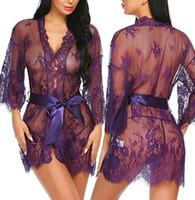 laço do vestido do desenhador backless venda por atacado-Senhoras de luxo lingerie sexy set sexy pijamas lingerie sexy senhoras designer de renda sem costas vestido de data em casa Francês vestido romântico