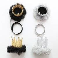 3e63bfd2d188b child hair clip crown Australia - Ins Angel Boutique Children Hair  Accessories lace Crown Girls Headbands