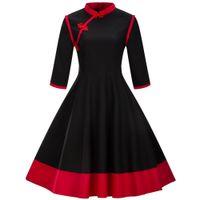 chinesisches kragenkleid schwarz großhandel-Herbst Winter Frauen Vintage Rockabilly Kleid 3/4 Hülse Stehkragen Schwarz Rot Party Kleid Chinesischen Stil Robe Retro Schaukel