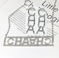 Wholesale chokers china for sale - Group buy New Full Rhinestone Letter Chokers Necklace Earrings Jewelry Sets For Women Fashion Bling Bling Collar Necklaces Wedding Jewelry Gifts