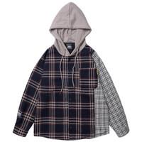 eski hip hop hoodie toptan satış-2019 Erkekler Hip Hop Kapşonlu Ceket Vintage Ekose Patchowrk Harajuku Ceket Hoodie Renk Bloğu Streetwear Ceketler Retro Tarzı Sonbahar