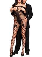 ingrosso jumpsuits sexy della biancheria intima-Donna Sexy Open Cup a rete con spalle scoperte Bodystocking con fiocco 3/4 maniche con apertura sul cavallo Tuta esotica Teddy Lingerie intimo