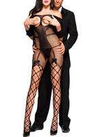 seksi iç çamaşırı tulumlar toptan satış-Kadınlar Seksi Açık Fincan Fishnet Off-omuz Yay ile 3/4 Kollu Bodystocking Açık Kasık Egzotik Tulum Teddy Lingerie İç