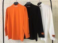 ingrosso cotone di marca-2018 HERON PRESTON Ricamo Donna Uomo Dolcevita A Maniche Lunghe T-shirt tees Hiphop Streetwear Uomo T-shirt In Cotone Marca