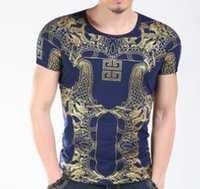Wholesale Summer Luxury Designer Mens Tees Short Sleeved Tshirts Gold Printed Vogue Classical Tshirts