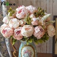 ingrosso giardinaggio peonies-Stile europeo falso fiore di seta decorativo peonia partito fiori decorativi per la casa ufficio di nozze arredamento da giardino fiori rosa D19011101