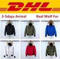 casaco de pele real venda por atacado-Canada goose Top Quality Canadá PBI CHILLIWACK BOMBER Parka homens reais Lobo pele do inverno Coats Designer Down Jacket XS-2XL # 01 winter jacket