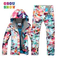 women s thermal sets 도매-GSOU SNOW 새로운 방수 스키 복 여성 겨울 정장 열 스키 재킷 + 스키 바지 스노우 보드 복 세트를 눈이 야외