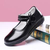 Wholesale uniform shoes resale online - Black Kids Shoes School Uniform Girls Shoe Genuine Leather Shoe Flat Sneaker Breathable for Princess Student Party