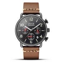 ingrosso ha portato i disegni degli orologi-ZIVOK Top Brand Fashion Design 4 mani di lusso Uomini orologi cinturino in pelle lunetta in acciaio inossidabile vigilanza meccanica automatica