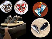 ingrosso i bambini calzano i pattini sport-Infant Mocha rosso Low Travis Scott air jordan 1 scarpa da basket Bambini 1s scarpa alta OG bambini Jacks scarpa da tennis Sport Trainer bambino del bambino