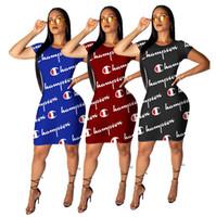 yaz uzun gömlek elbisesi toptan satış-Kadın şampiyonu tasarımcı dress yaz kısa kollu uzun t-shirt bodycon etek skinny elbiseler parti kulübü kıyafet streetwear spor a52206