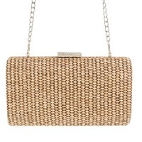 Wholesale woven evening clutch resale online - 2019 new women handmade evening clutch bags weave banquet bags with chain dinner shoulder drop shipping MN