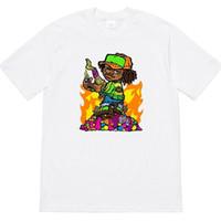 ingrosso camicia bianca stampata per i bambini-Mens Designer T Shirt 19ss Molotov Kid Tee Luxury Anime Print Womens Girocollo Tee Casual in bianco e nero camicia HFSSTX237