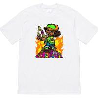 chemise imprimée blanche pour enfants achat en gros de-Mens Designer T Shirts 19ss Molotov Enfant Tee De Luxe Anime Imprimer Femmes Col Rond Tee De Haute Qualité Casual Noir Et Blanc Chemise HFSSTX237
