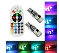 luz brilhante rgb venda por atacado-Interior do carro de controle remoto RGB LED Car Light Reading DC 12V T10 5050 Lâmpada brilhante bulbo Lâmpadas Interior Auto luz Clearance