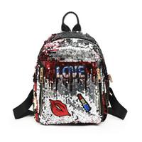 mini sacs de rouge à lèvres achat en gros de-Étudiant bande dessinée paillette sac à dos de retour à l'école fille paillettes lettre amour rouge lèvres rouge à lèvres étoile bande Zipper Mini Lady School Bag